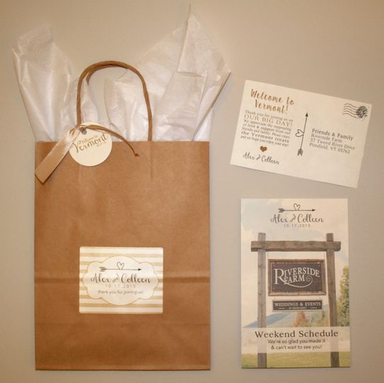 Rustic Elegant Welcome Bag with weekend schedule and welcome note