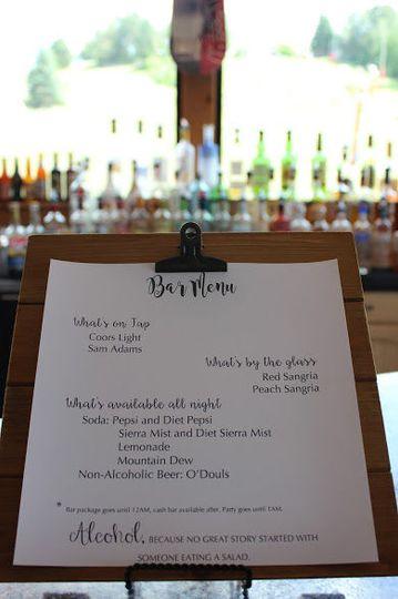 Complementary custom hosted bar menu