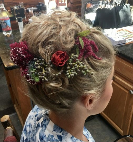 Flowers on updo