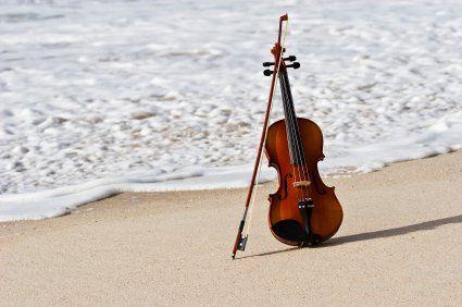 Violin by the beach