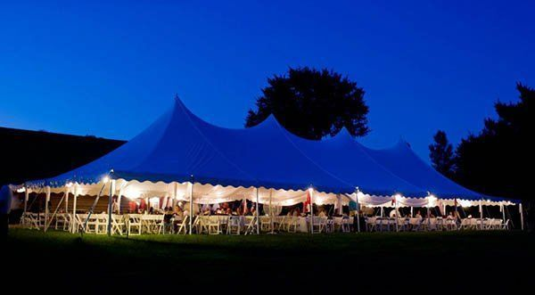 The white tents at night