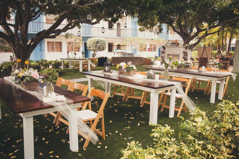 Long table setup and floral decor