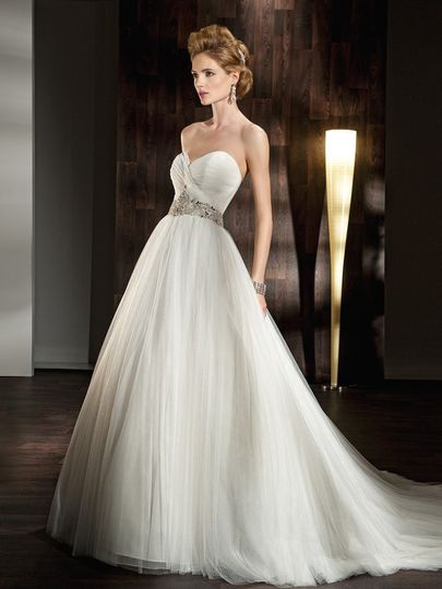 532   Soft tulle, A-line wedding dress has a strapless, sweetheart neckline. The ruched bodice and...