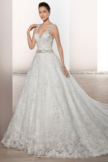 Style 730     Beautiful Chantilly and Alencon lace embellish this timeless V-neck Ball gown...