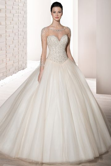 Style 724 This shimmering Ball gown with richly beaded bodice and Sweetheart neckline features...