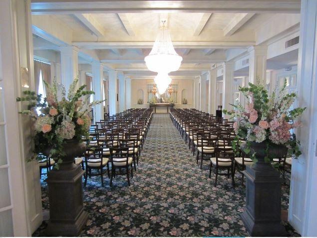First floor ballroom.  Set up for wedding ceremony.
