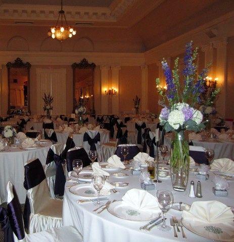 upstairs ballroom set up for reception.