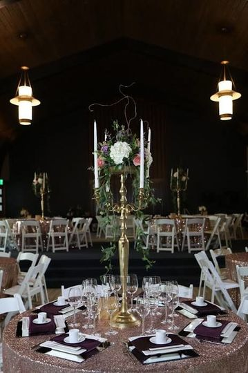 Candelabra with flower centerpiece