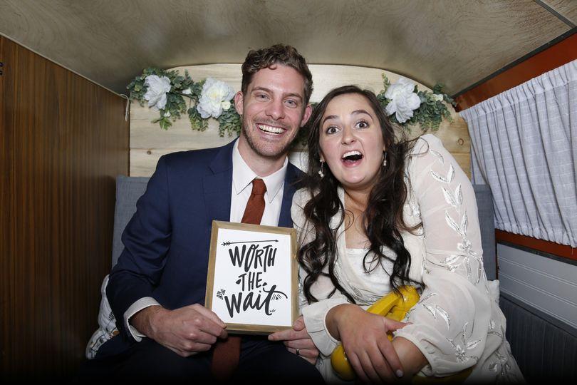 Bride + Groom in the bus