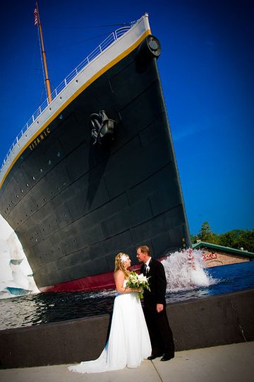 Couple in front of a ship