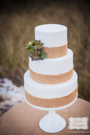 rustic and modern white fondant cake with burlap band and succulents. 5 inch high tiers