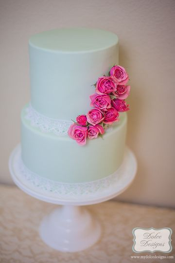 Mint green fondant with mini roses. 5 inch high tiers