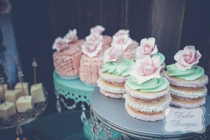 romantic stacked cookies and mini ruffle cakes