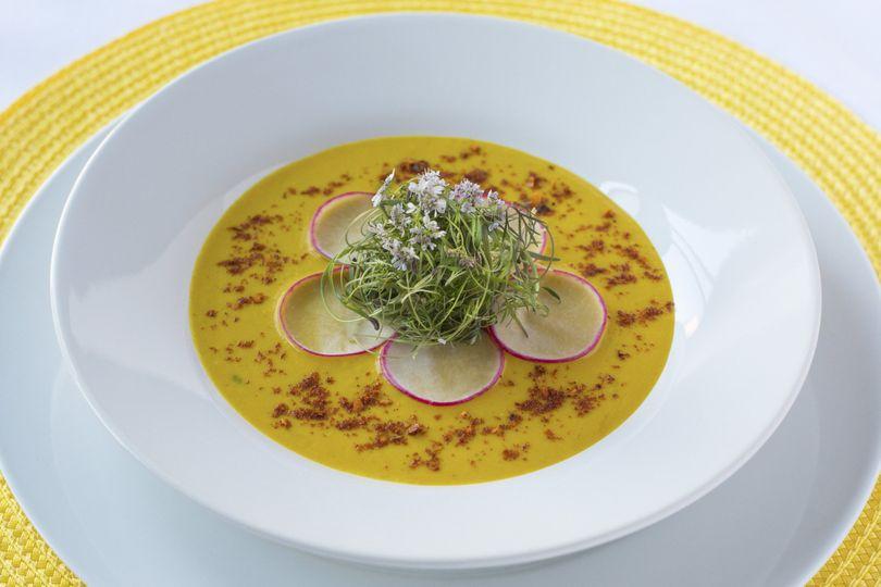 Roasted Butternut Squash Soup with nutmeg & chopped celery