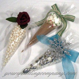Cellophane cone wedding favors.