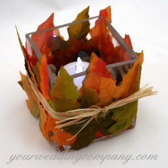 Fall leaves tealight candle decoration.
