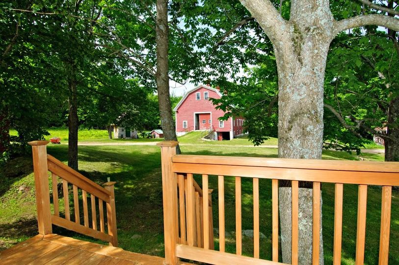 view of barn from deck