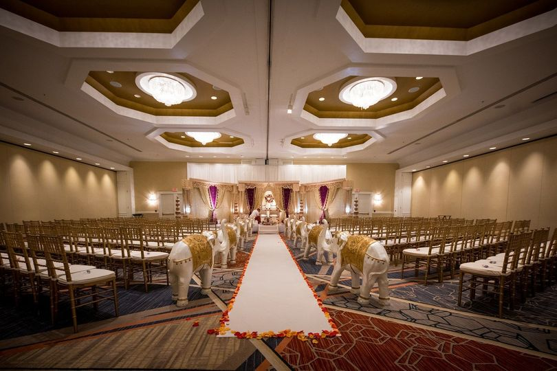 Indoor wedding ceremony setting