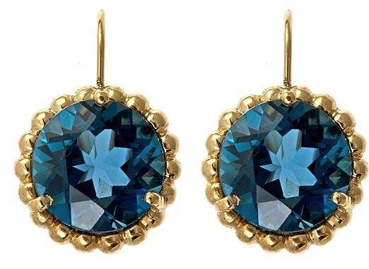 Bubble drop earrings in 18k gold and London Blue topaz. Can be made with any stone and metal...