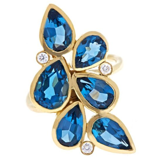 Cascade ring. London Blue topaz . 18k yellow gold .  diamonds.
