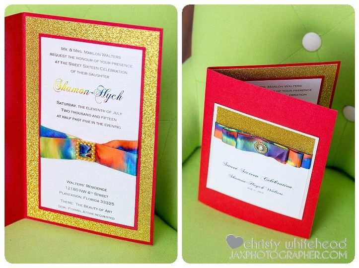 red and glitter gold invitation purple and teal in