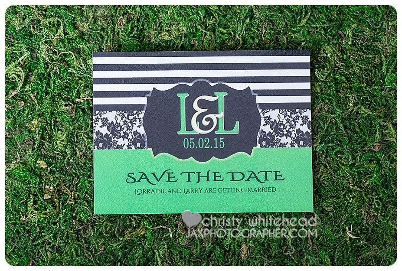 black and white stripe save the date magnet koutur