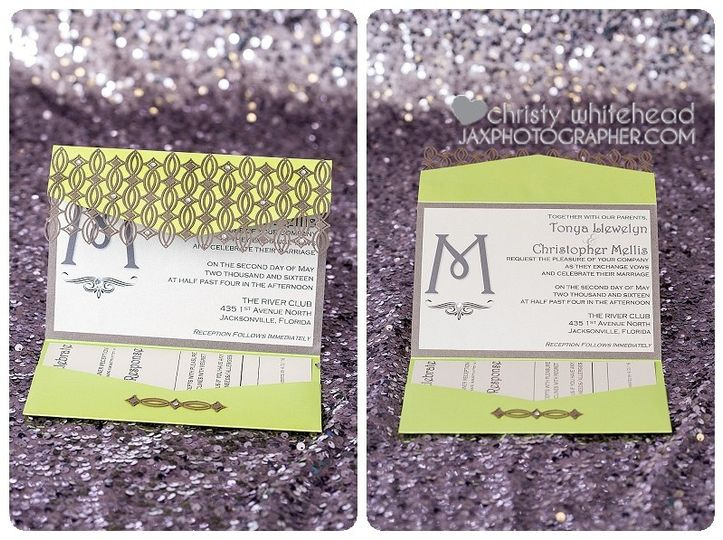 diamond invitation laser cut invite lime green and
