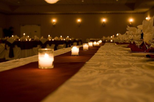Dining table with candle centerpiece