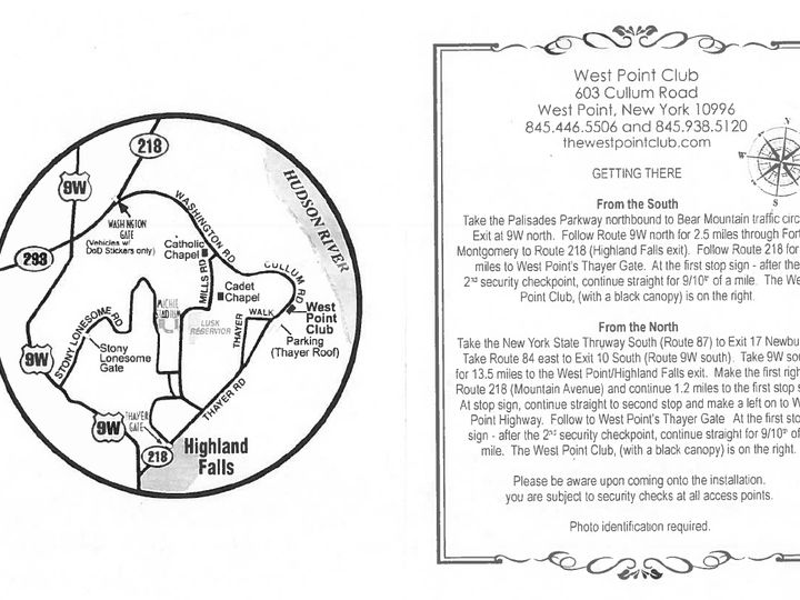 Tmx Direction Cards 51 51080 West Point, New York wedding venue
