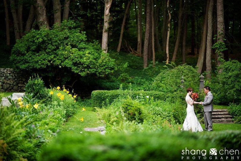 Newlyweds in the garden