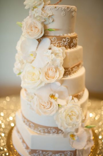 Tall white rose cake
