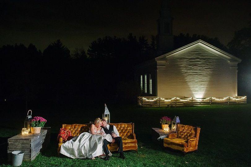 Hale Farm Meeting House at night