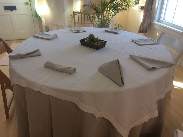 #124 Flax 100% Linen with #103 White Hemstitch Overlay and #124 Flax 100% Linen Napkins