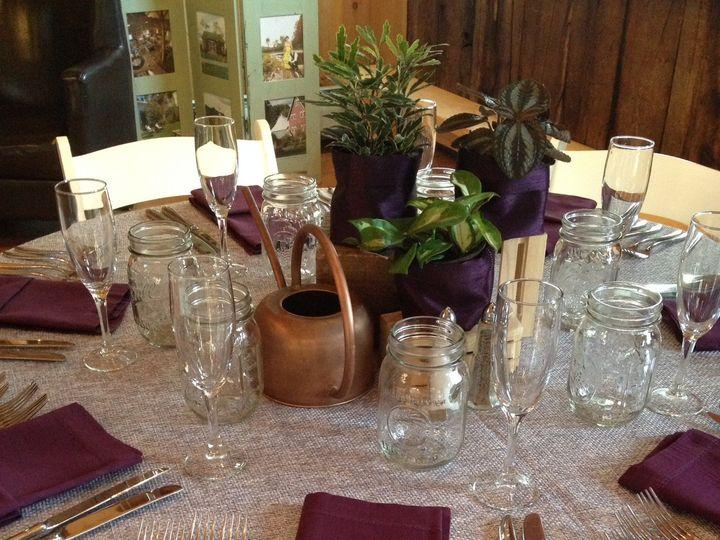 Tmx 1463065694301 270 Silver Faux Burlap With 259 Aubergine Hemstitc Rochester wedding rental