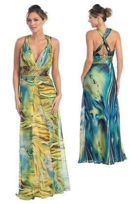 This gown has an under lying animal print that is subtle and very trendy!