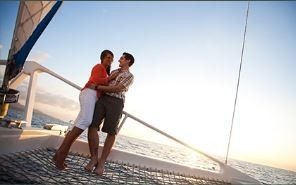 couples on catamaran