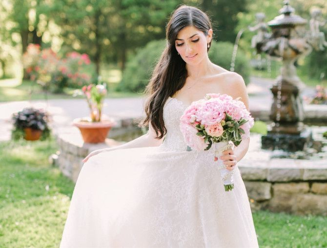 Bride by the fountain