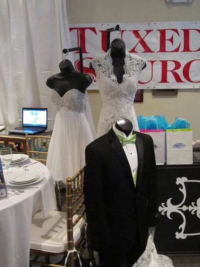 Bridal gown and tuxedo