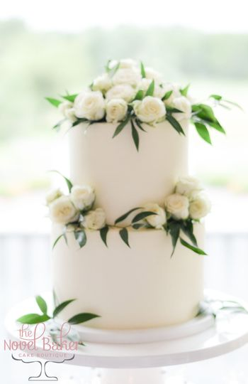 Roses and Ruscus Wedding Cake