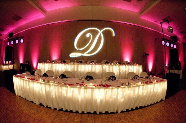 You can use our elegant monograms with beautiful uplighting to personalize your reception.