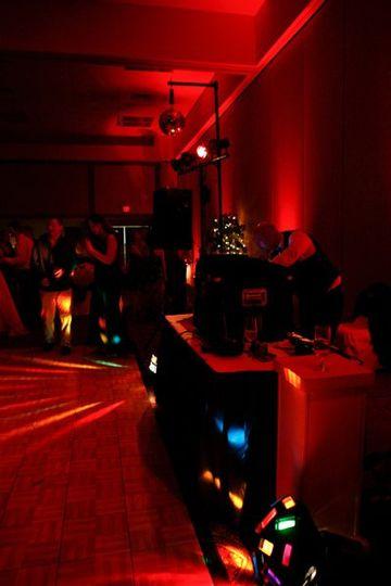 Dance lighting with red uplighting.