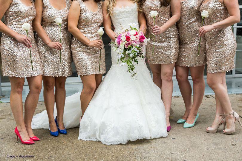 Bride along with bridesmaids
