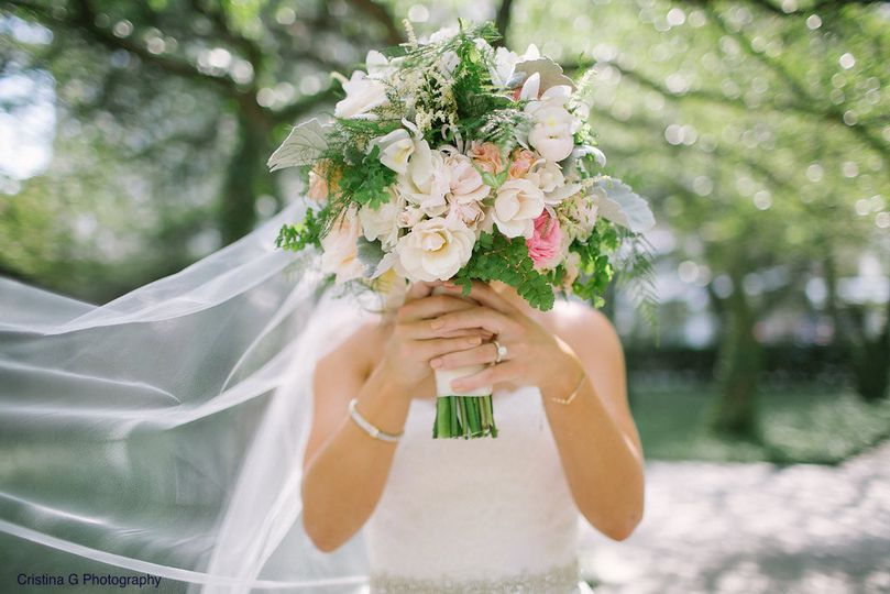 Bride holding a wedding flower bouquet