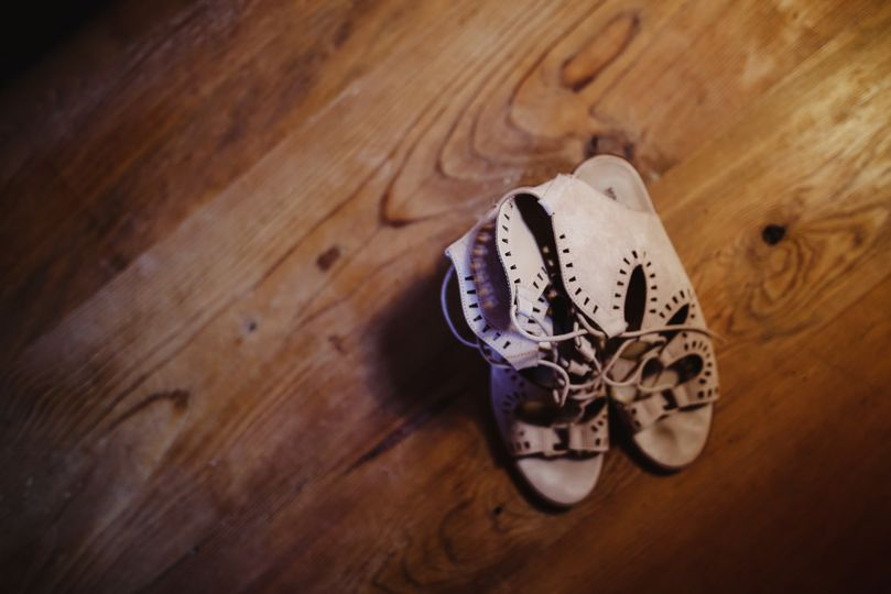 The shoes on a wood floor