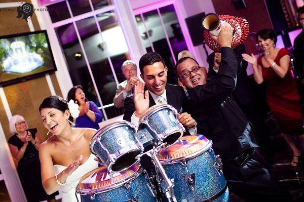 Bride and Groom rockin out with our percussionist!