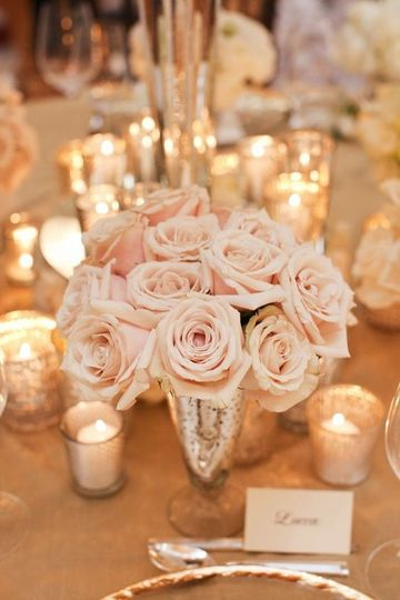 small pink rose centerpiece w candles