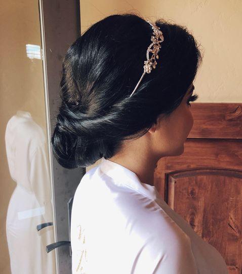 Bridal updo with Tiara