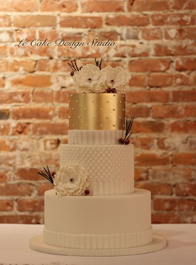 Fondant Wedding Cake Featuring Gold & Knit Embellishments