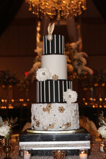 Fondant Wedding Cake With A Roaring 20's Theme