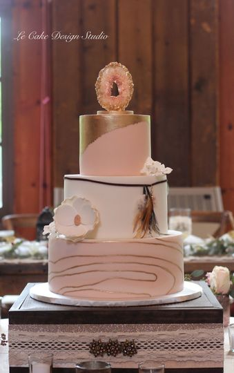 Fondant Wedding Cake Featuring Handmade Sugar Geode Cake Topper